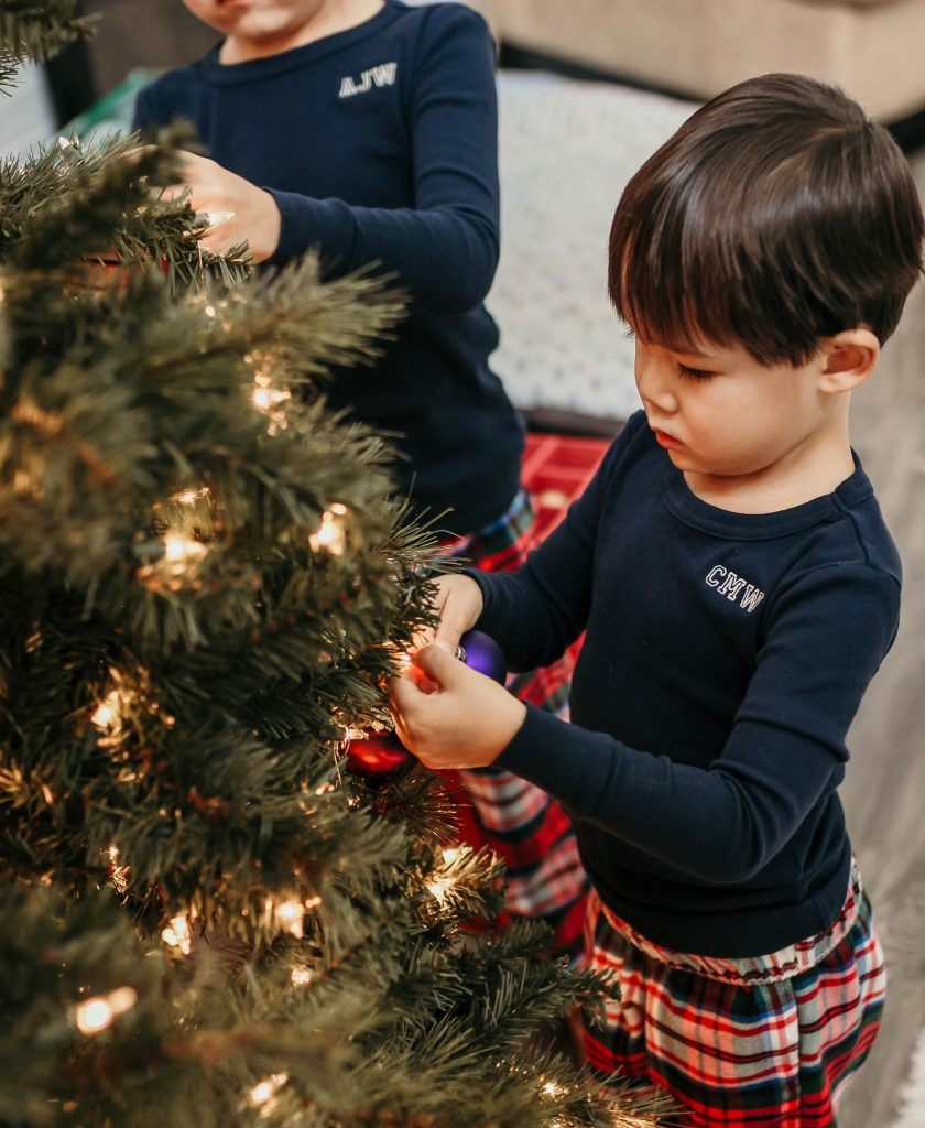 Boy is decorating a Christmas' Tree