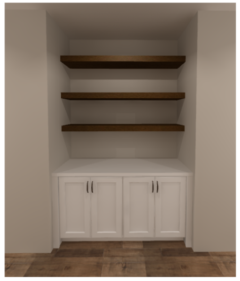built-in book shelve that are brown with a white bottom