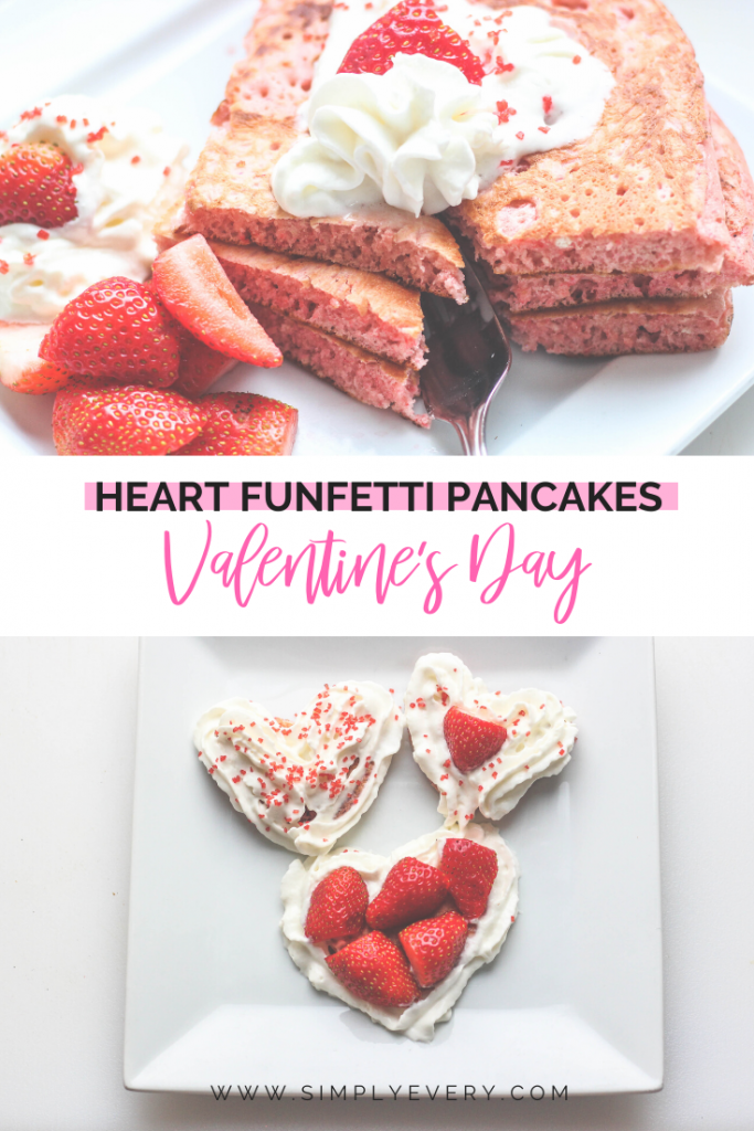Heart Funfetti Pancakes - Easy Breakfast Recipe for Kids