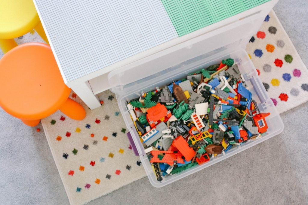 Storage Bins for Easy DIY LEGO Table Hack